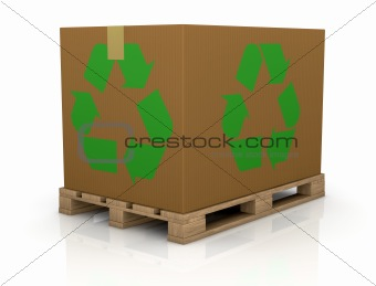 carton box with recycle symbol