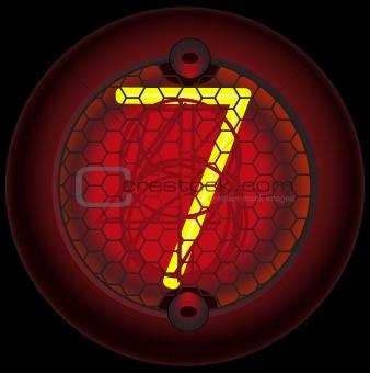 Digit 7 (seven). Nixie tube indicator