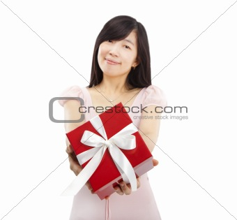 smiling asian young woman holding gift box