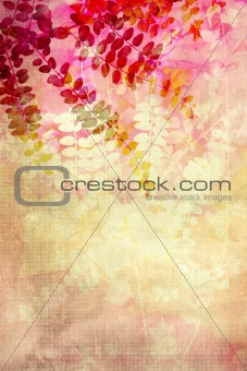 Red leaves grunge background