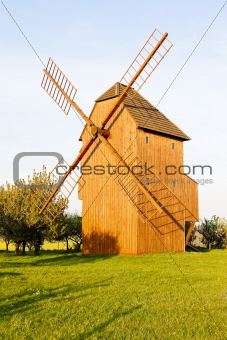 wooden windmill, Stary Poddvorov, Czech Republic