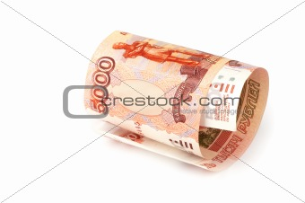 russian rubles isolated on white background