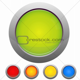 Glossy button set on white background