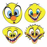Set of funny and ugly smilies