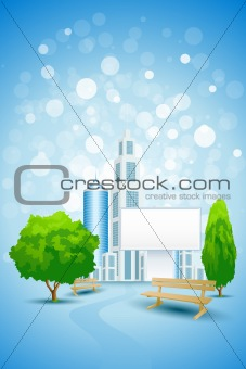 Blue Background with City Landscape and Billboard
