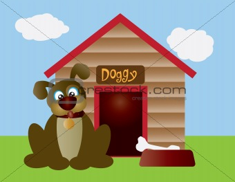 Cute Puppy Dog with Dog House Illustration