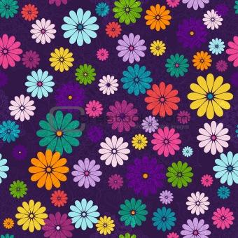 Seamless dark floral vivid pattern