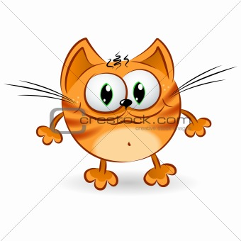Happy cartoon ginger cat