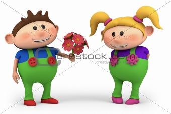 boy offering girl flowers