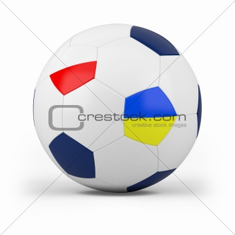 football with polish and ukrainian flag