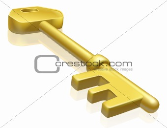 Brass or gold key illustration