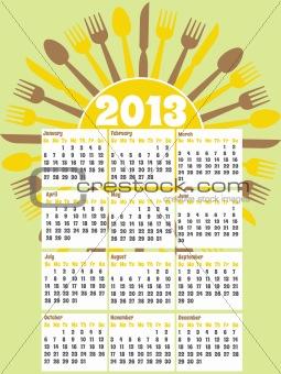 2013 diner themed calendar