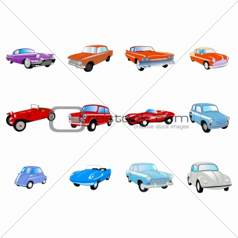 Big set of the different classical cars