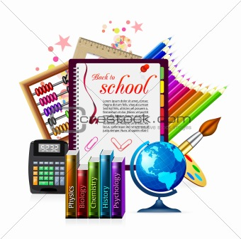 Back to school. Vector illustration on white