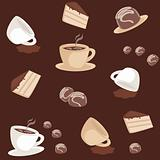 Seamless pattern with coffee cups and cakes