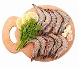 Board with Tiger Prawns