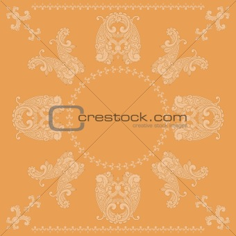 vector paisley square pattern in orange