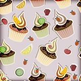 vector seamless pattern with cupcakes,  fruits and berries
