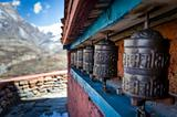 Prayer wheels in Himalaya