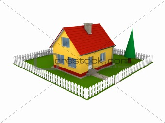 Family house with yard
