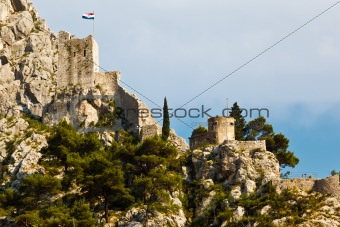 Pirate Castle on the Rock in Omis, Croatia