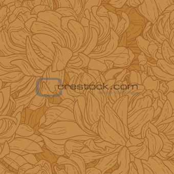 Seamless floral pattern with hand-drawn chrysanthemum flower in brown color