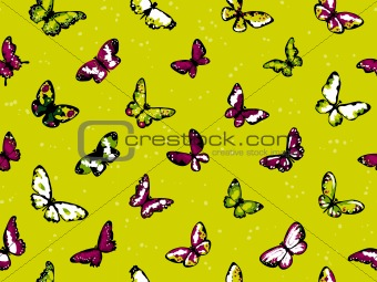 Seamless vector highly detailed background with butterflies in summer colors