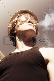 Male Glamour Model Smoking Tobaco