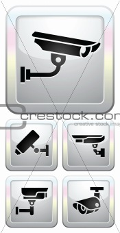 CCTV labels, video surveillance, set buttonsecurity camera pictogram