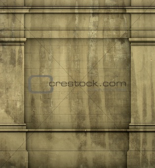 3d antique classic architecture Greek Roman wall grunge render