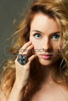 Young Blonde Woman Beauty Portrait Studio Shot