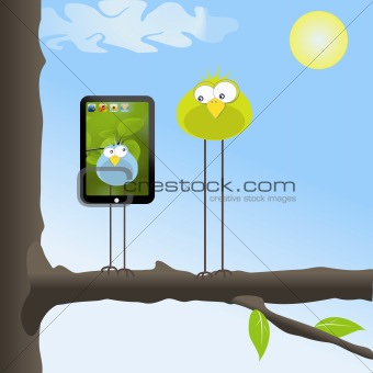Two funny birds in the tree