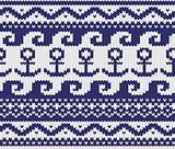 Seamless knitted marine pattern