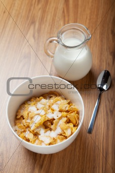 Breakfast cereal with milk and spoon