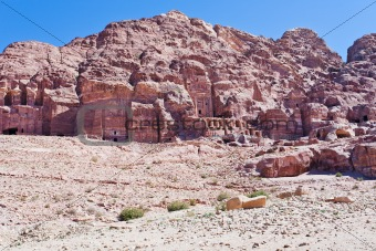 panorama on Royal Tombs in Petra