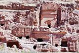 tombs and cathedral in stone city Petra