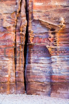 unfinished tomb in multicolour sandrock of Petra