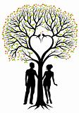 couple with heart tree, vector background