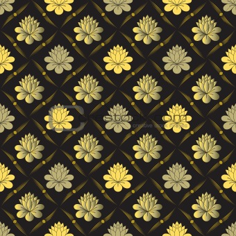 vector seamless gold floral pattern