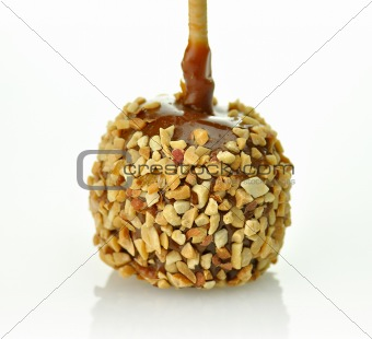 Candy apple with caramel sauce