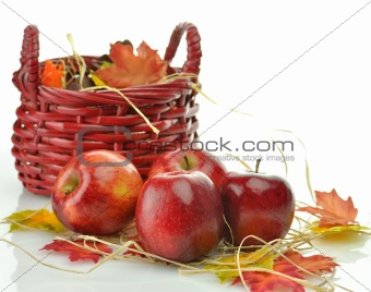 Red apples and wooden basket