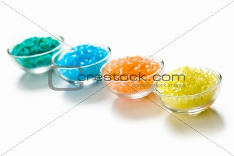 colorful bath salt in glass bowl