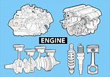 engines on blue