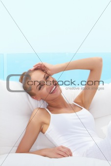 Lively laughing beautiful woman