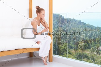 Woman enjoying tropical luxury