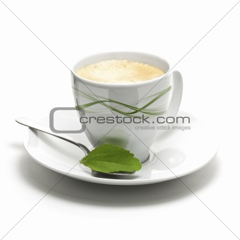 stevia plant and coffee cup decorative background