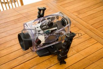 broken camera underwater box