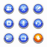 blue communication icons
