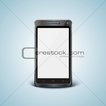 Vector cellphone in front view with blank screen