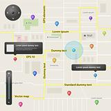 Full GPS navigation set of vector elements in different colors